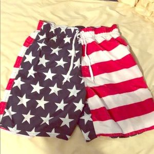 Faded Glory American Flag Swim Trunks